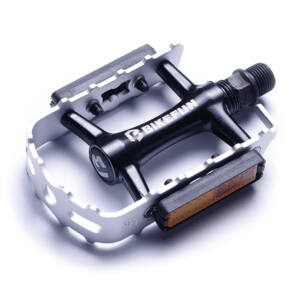 Pedál BIKEFUN MOUNTAINER-II MTB alu, ezüst-feket - C128/STEEL/BF